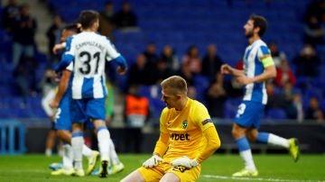 Los jugadores del Espanyol celebran un gol ante el Ludogorets