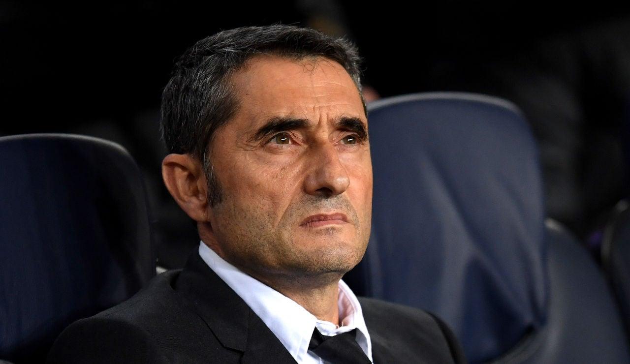 Ernesto Valverde, durante un partido del Barça