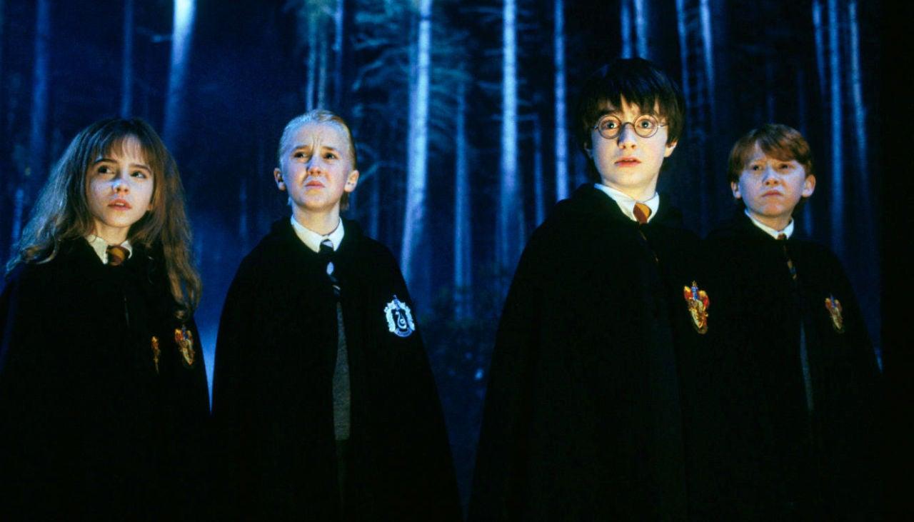 Hermione, Draco, Harry y Ron en 'Harry Potter'