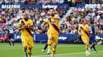 Messi celebrando su gol contra el Levante