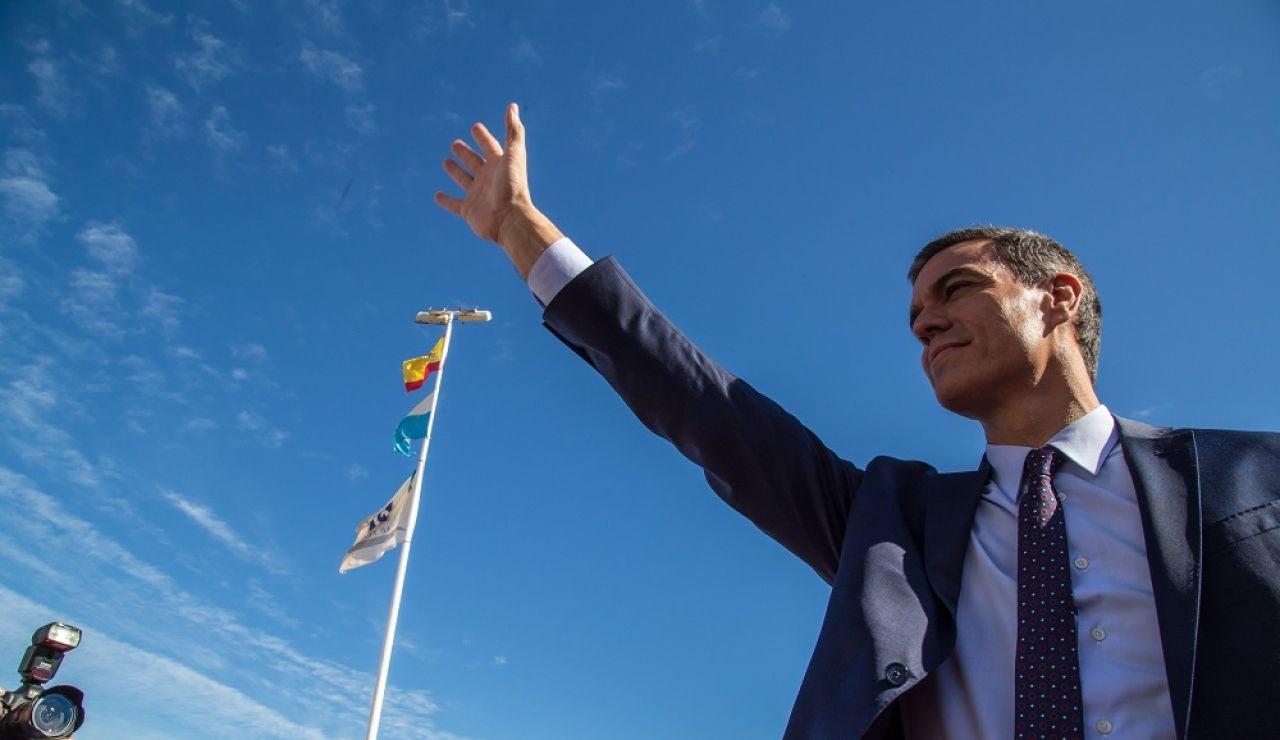 Pedro Sánchez en un acto electoral en Los Alcázares