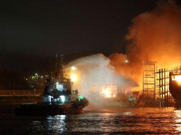Incendio en un astillero de Galicia