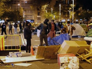 Acampada en la Plaza Universidad de Barcelona