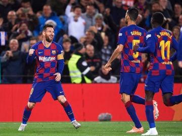 Messi celebra su gol de falta al Celta