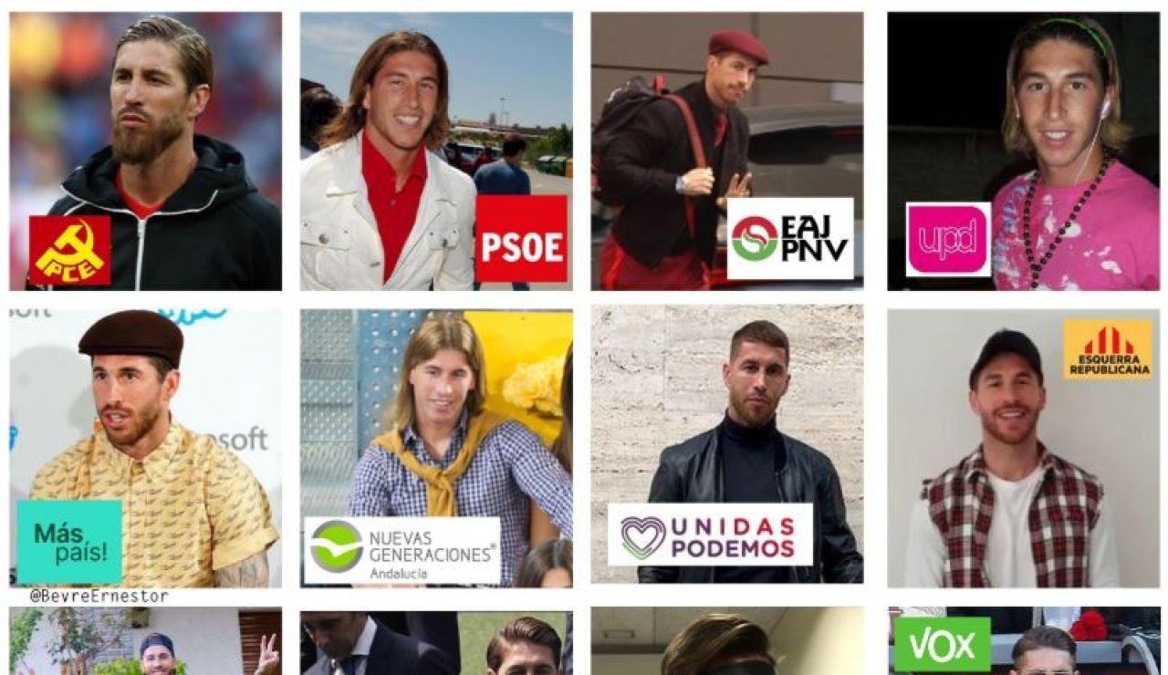 Sergio Ramos como votante de los diferentes partidos políticos
