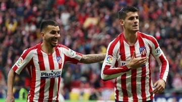 Álvaro Morata celebra uno de sus goles con el Atlético