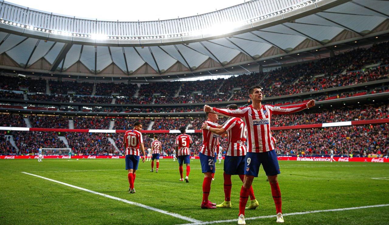 Morata celebra su gol al Espanyol