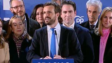 Pablo Casado, en su discurso tras el 10N