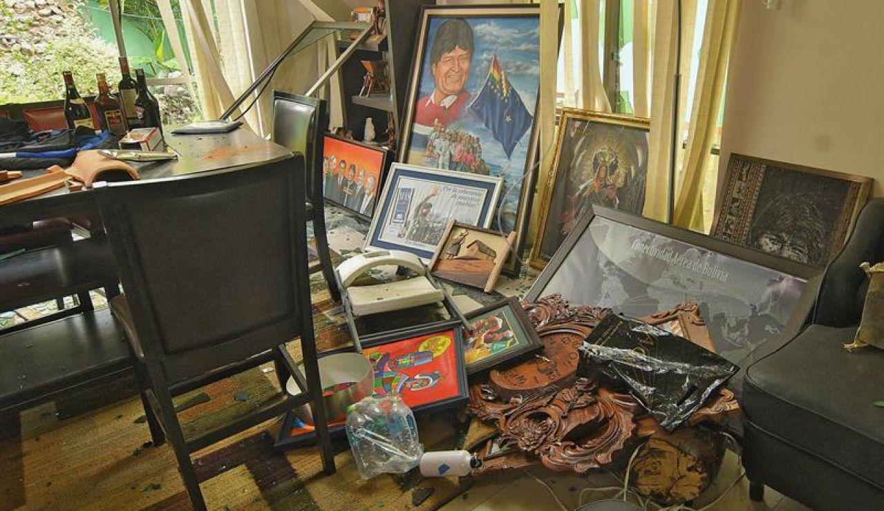 Destrozos en la casa de Evo Morales