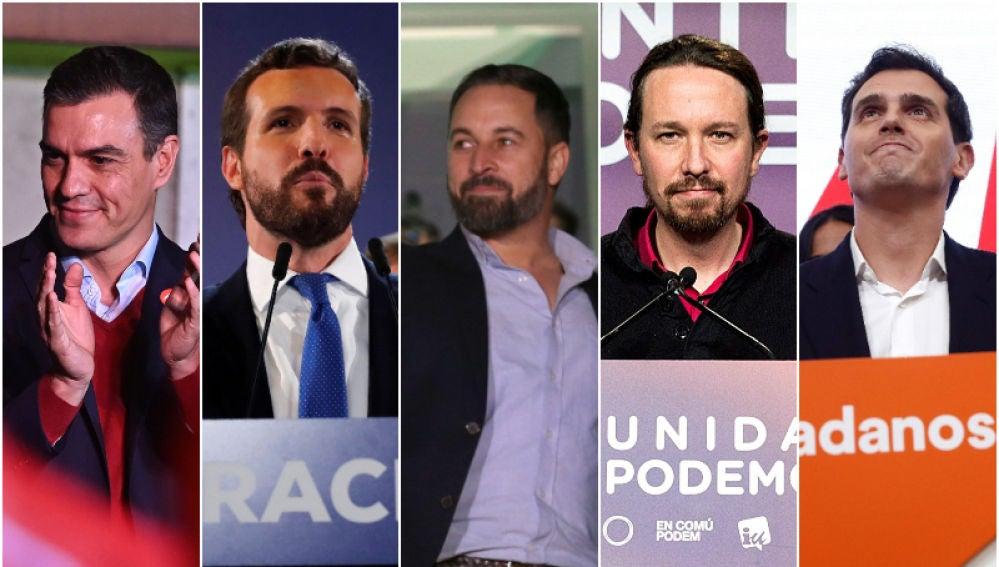 Los líderes de los partidos políticos tras conocer los resultados del 10-N