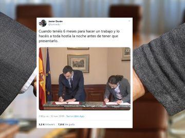 Memes del acuerdo entre Sánchez e Iglesias