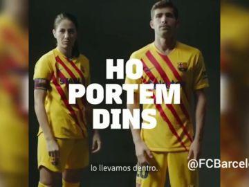 """El Barcelona presenta su cuarta equipación en homenaje a la senyera: """"Lo llevamos dentro"""""""