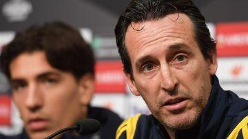 Unai Emery, en una conferencia de prensa con el Arsenal.