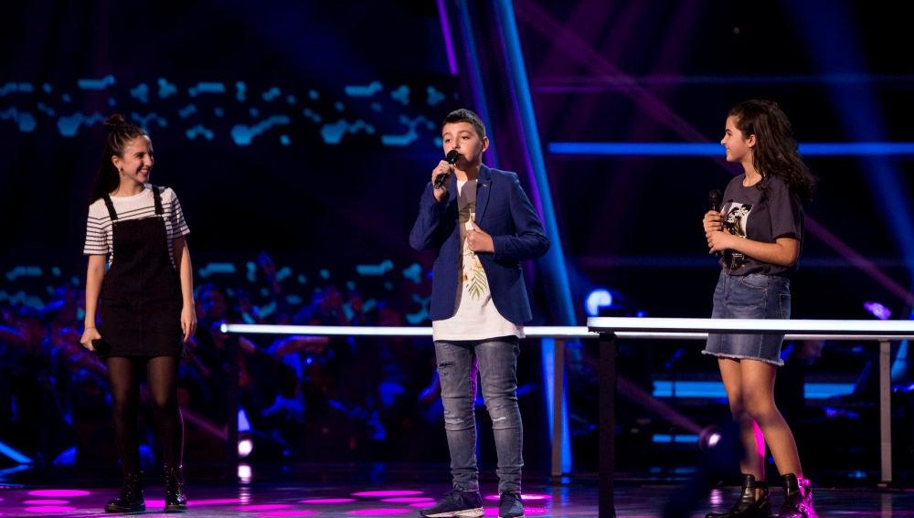 Victoria Herraiz, Berta Luna y Maksym Pashnyk cantan 'Beauty and the beast' en las Batallas de 'La Voz Kids'