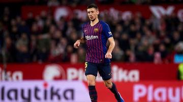 Lenglet durante un partido con el FC Barcelona