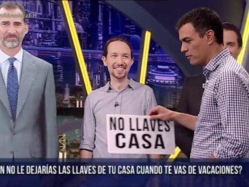 Cuando Pedro Sánchez confesó en 'El Hormiguero' que no dejaría las llaves de su casa a Pablo Iglesias