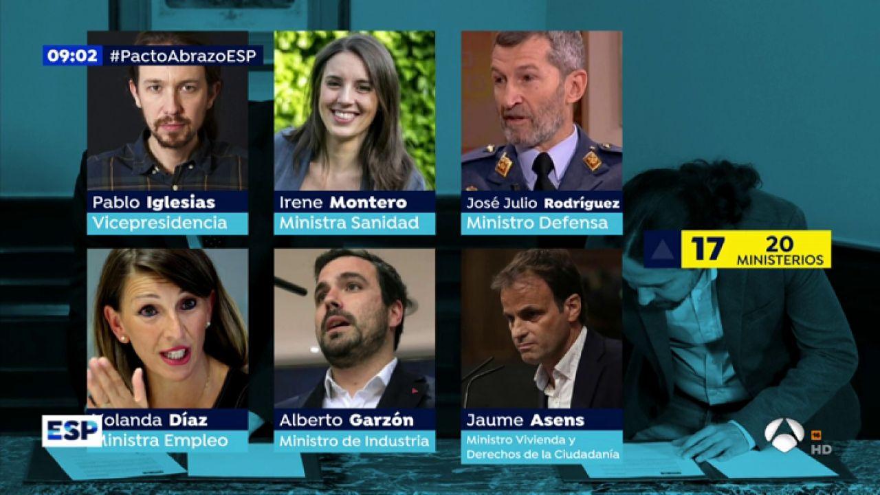 Los ministros de Pablo Iglesias: Montero en Sanidad, Garzón en Industria o Asens en Vivienda - Antena 3