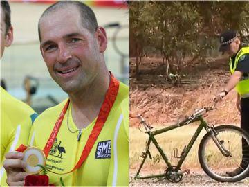 La bicicleta de Kieran Modra tras el impacto