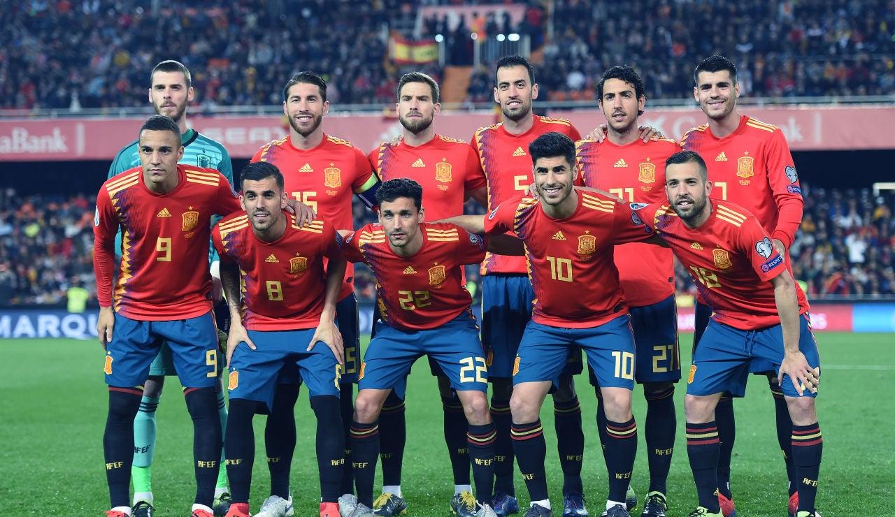 La Selección Española antes de su partido ante Noruega