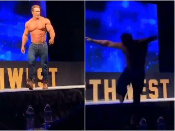 Mike O'hearn cae del escenario en plena competición