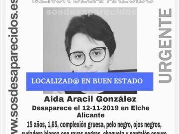 Localizan en buen estado a la menor desaparecida en Almoradí
