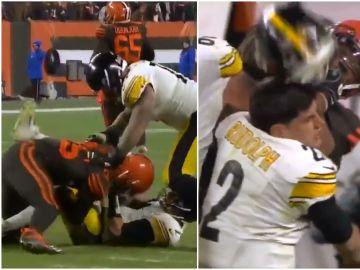 Pelea en la NFL en el partido entre los Pittsburgh Steelers y los Cleveland Browns