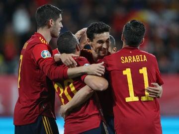 Los jugadores de la Selección celebran un gol ante Malta