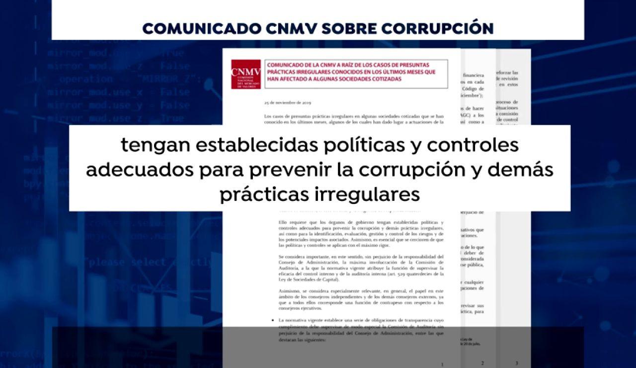 La CNMV exige a las empresas informar sobre los casos de corrupción