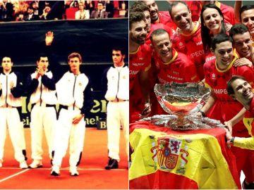 Rafa Nadal, en una foto de 2000 y otra de 2019