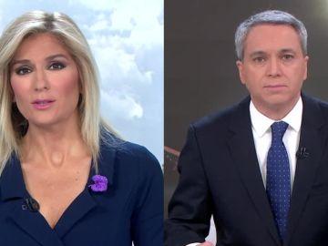 Sandra Golpe y Vicente Vallés en Antena 3 Noticias