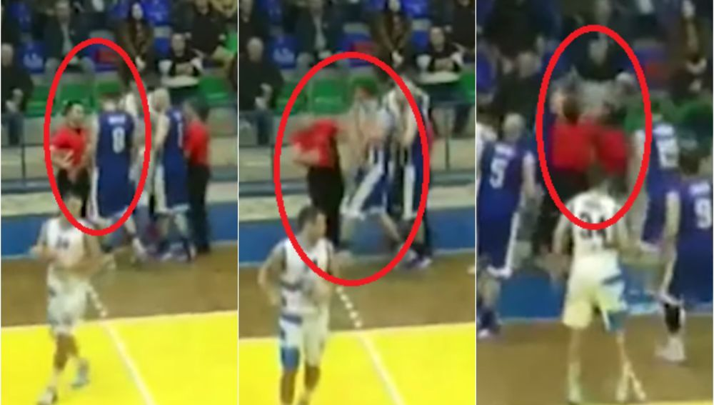 Brutal agresión de un jugador a un árbitro de baloncesto en Albania