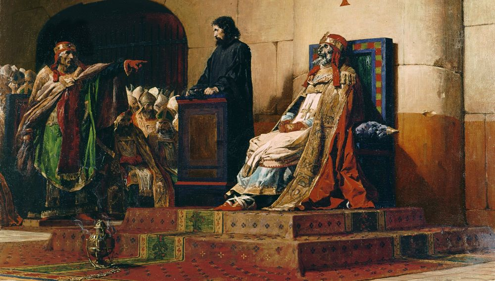 """""""El Papa Formoso y Esteban VI"""" de Jean-Paul Laurens (Museo de Arte de Nantes)"""