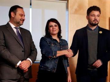 José Luis Ábalos, Adriana Lastra y Gabriel Rufián