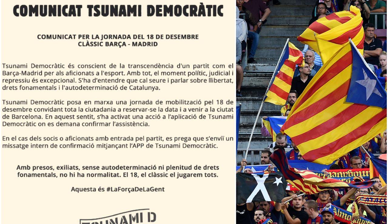Comunicado de Tsunami Democràtic contra el Clásico