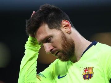 Leo Messi, tras recibir un gol en Anfield