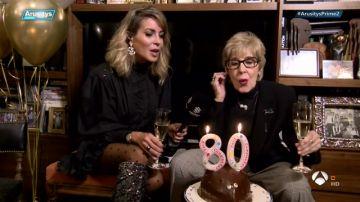 Concha Velasco sopla las velas de su 80 cumpleaños con 'Arusitys Prime'