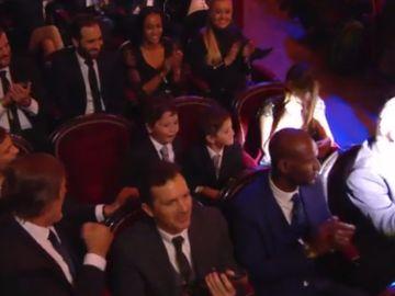 Los hijos de Messi durante la gala del Balón de Oro