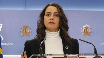 Inés Arrimadas, en una comparecencia en el Congreso de los Diputados.