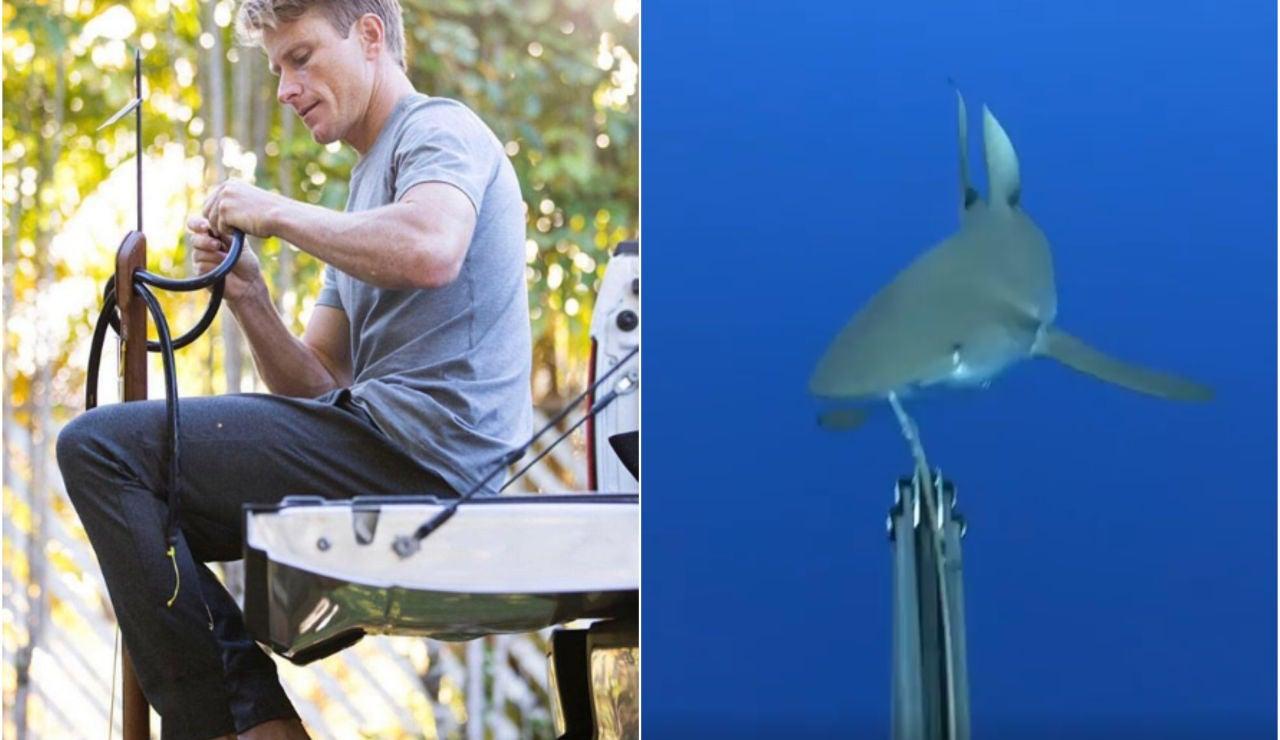 Mark Healey se defiende con su arpón de un tiburón