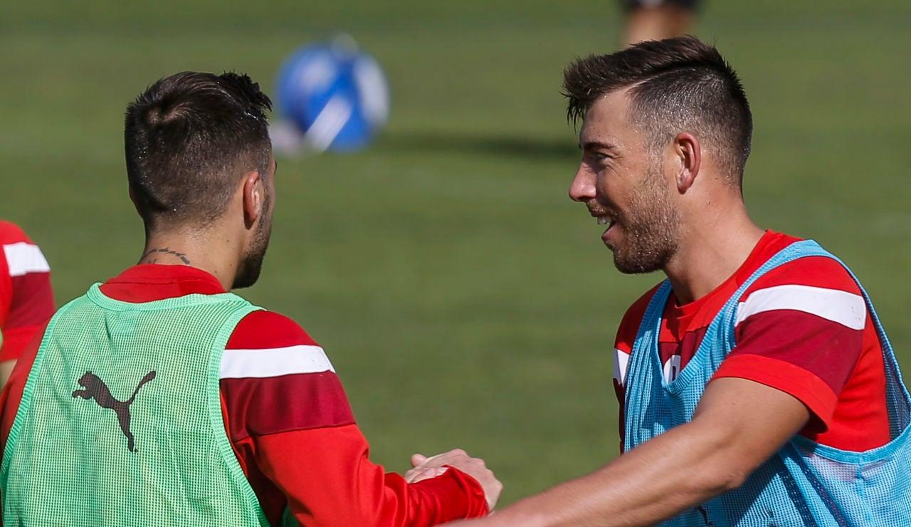 Antonio Luna y Sergi Enrich durante un entrenamiento