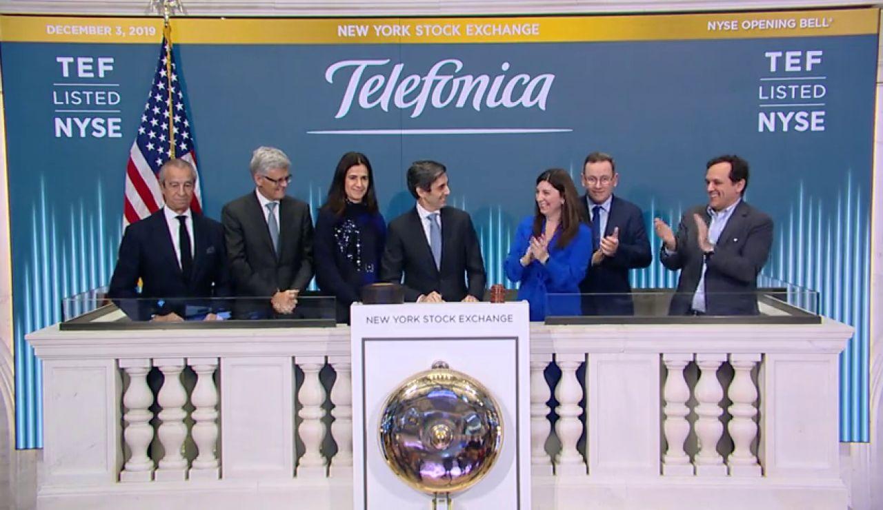 Álvarez-Pallete inaugura el inicio de la jornada bursátil en la Bolsa de Nueva York