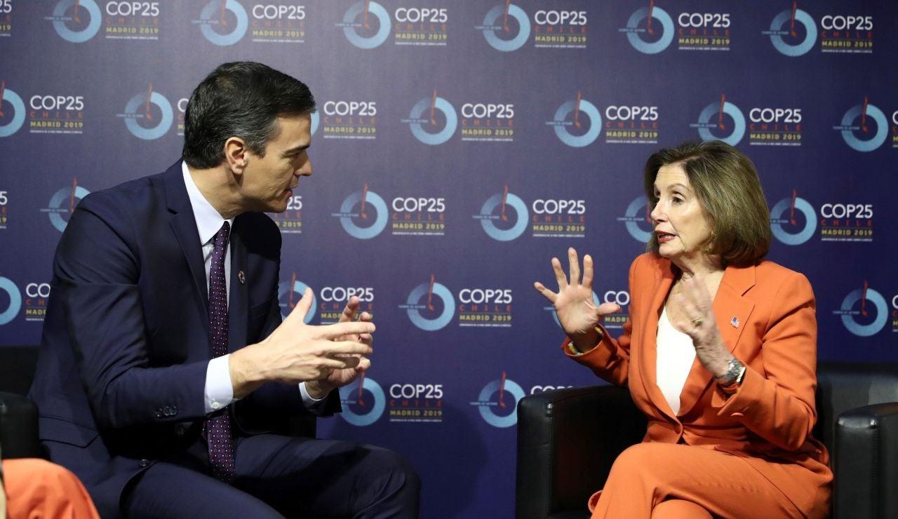 Pedro Sánchez y Nancy Pelosi en la Cumbre del Clima
