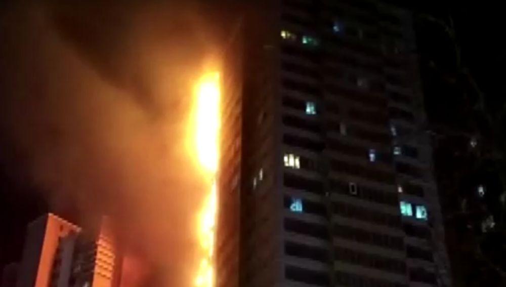 Se incendia un edificio de China