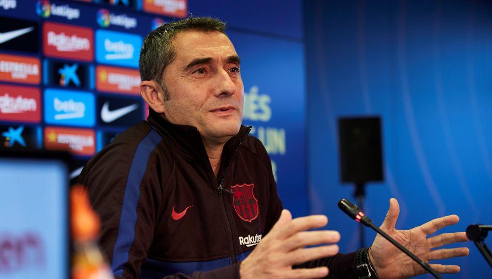 Valverde durante la rueda de prensa previa al partido contra la Real Sociedad