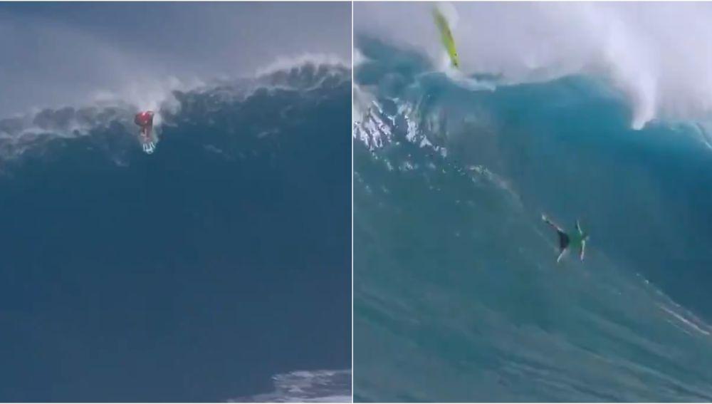Dos secuencias del Jaws Big Wave Championships en Hawái