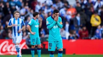 Leo Messi se lamenta ante la Real Sociedad