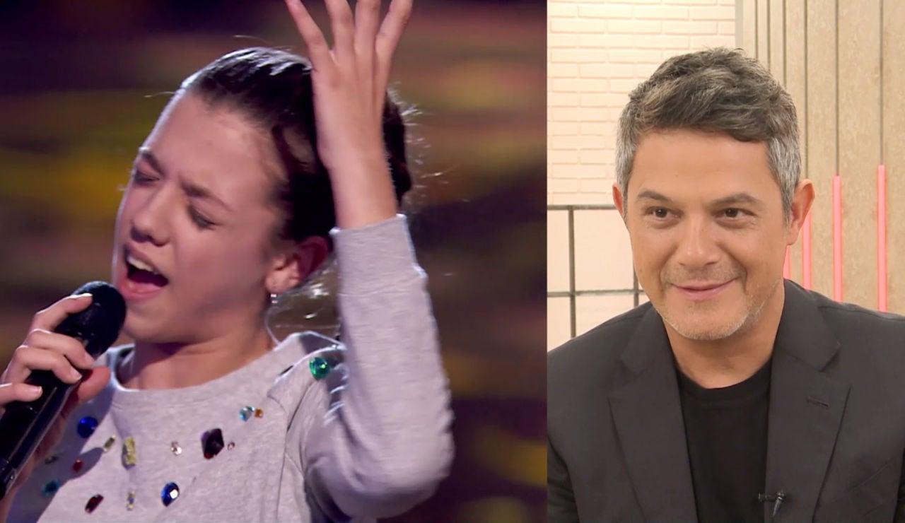 La reacción de Alejandro Sanz a la actuación de Patricia García cantando 'A que no me dejas' en 'La Voz Kids'