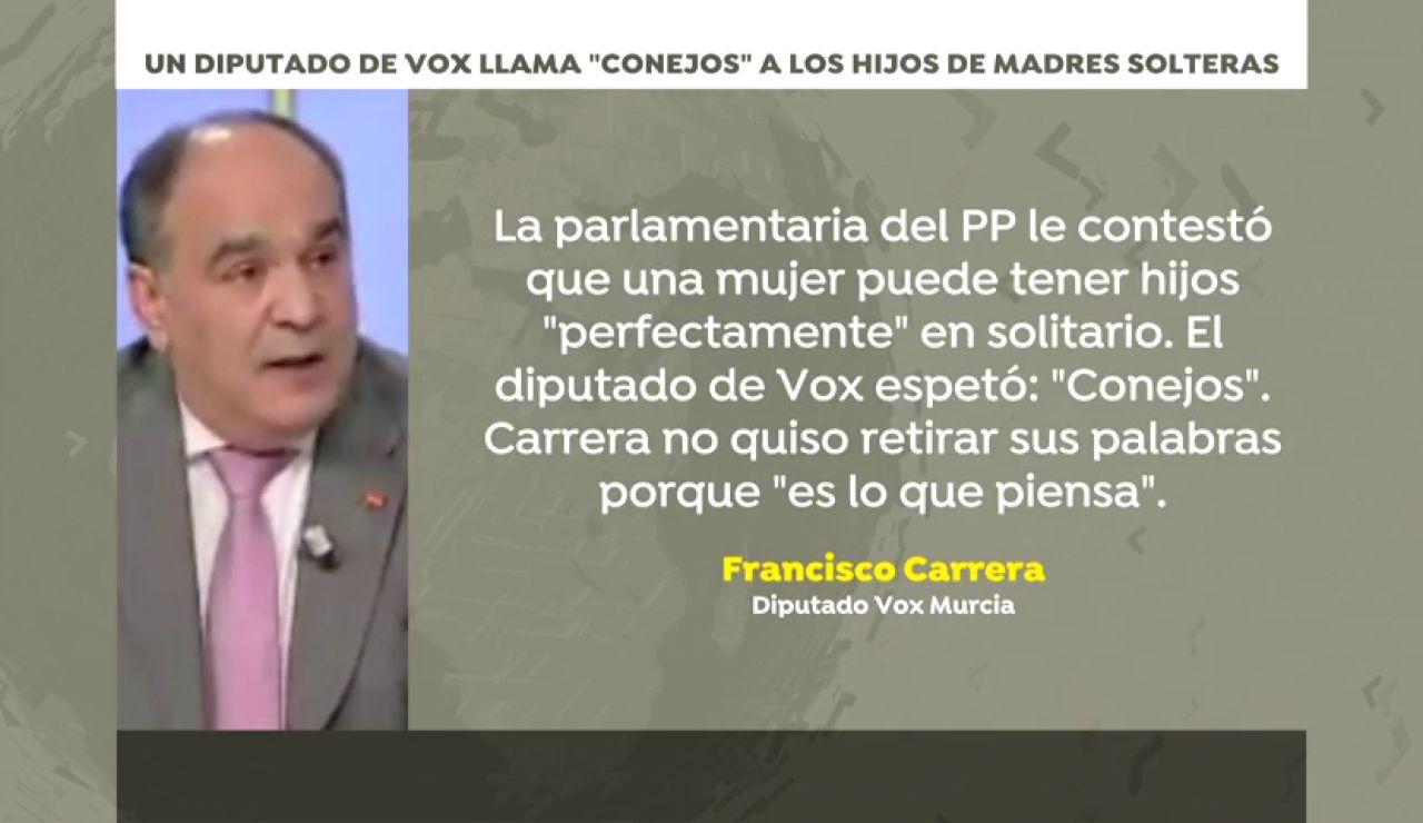 """Francisco Carrera, diputado de Vox en Murcia, llama """"conejos"""" a los hijos de madres solteras"""