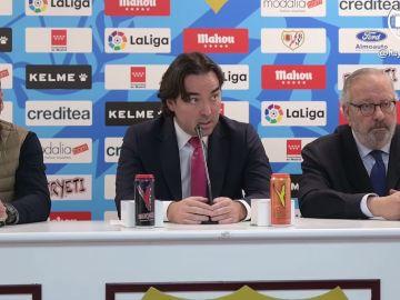 Raúl Martín Presa durante la comparecencia tras el Rayo-Albacete