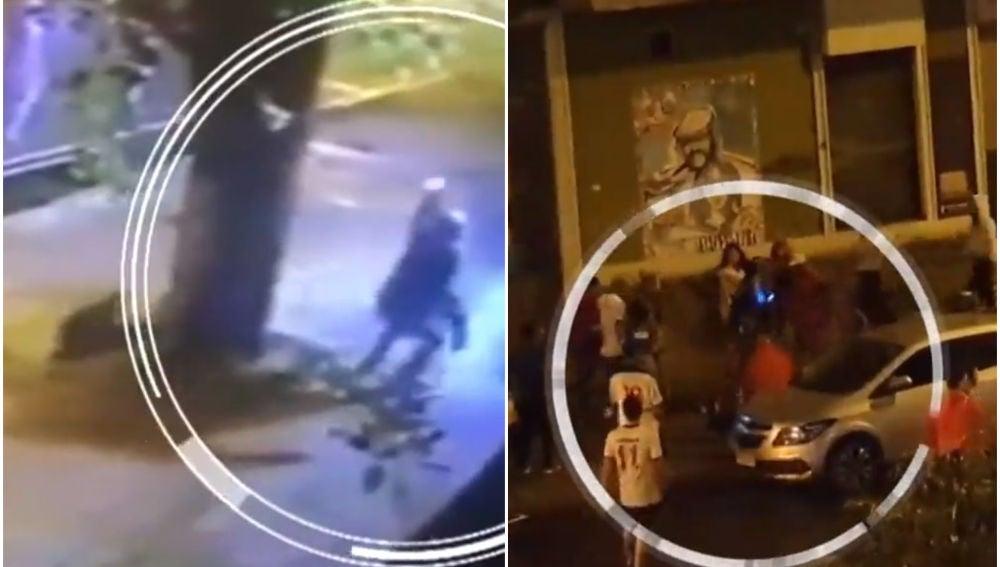 el momento exacto en el que asesinan a tiros a un joven en Uruguay